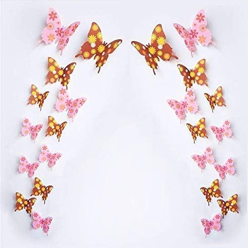 Lot de 36 stickers muraux amovibles 3D en forme de papillon Noir//gris