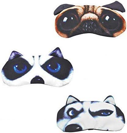 Antifaz gracioso para dormir, divertido, de gato o perro, antifaz con dibujo, suave, acolchado, antifaz para dormir a ciegas para hombre y mujer