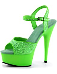Summitfashions Bright and Bold Lime Green Heels with Sparkling Glitter and 6 Inch Stilettos
