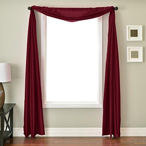 Softline Home Fashions NETHmrltSC Bella 6 Yard Window Scarf, Merlot (6 Yard Window Scarf Valance)