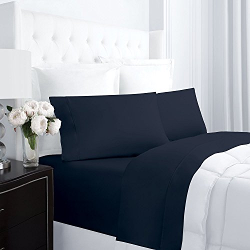Egyptian Luxury 300 Thread Count 100% Cotton Long-Staple Combed Pure Natural Bed Sheet Set - Deep Pockets, Fade Resistant, Hypoallergenic Sheet and Pillow Case Set - Navy - Full