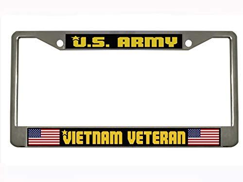 U.S. Army Vietnam Veteran Auto Steel License Plate Frame Tag Holder