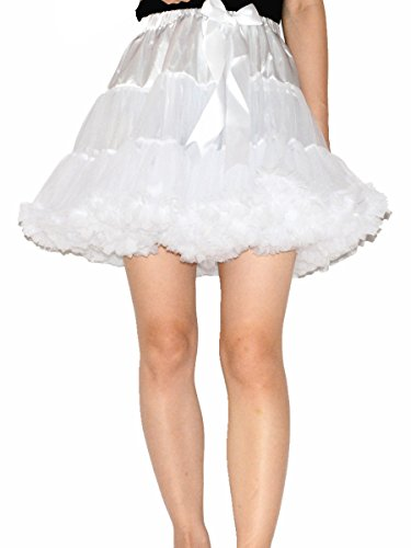 YSJ Women's Pettiskirt 3-Layered Tutu Chiffon Petticoat Pleated Mini Skirt (White), One Size (Ruffled White Pettiskirt)