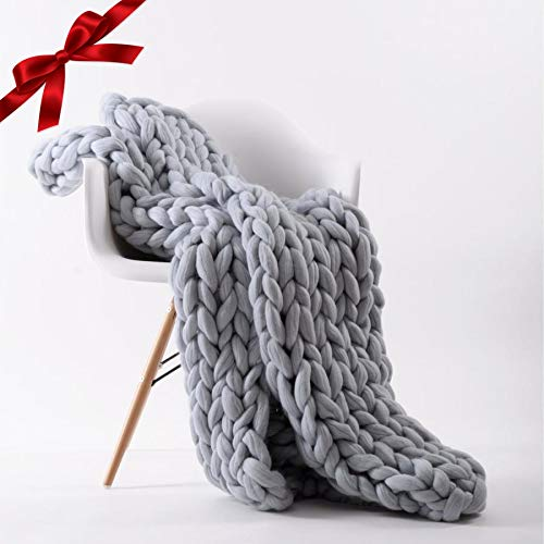 - Chunky Knit Blanket Throw | Hand Made Knitted with Heavy Thick Vegan Yarn | FREE Storage Bag | Accent Home Decor Gift for Farmhouse Couch Bench Bed  (Standard Throw 50