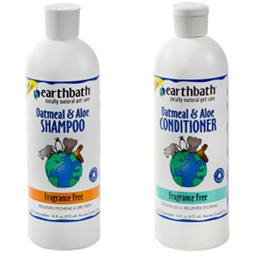 Earthbath Oatmeal and Aloe Fragrance Free Shampoo for Dogs and Cats, 16 Ounces, and Earthbath Oatmeal and Aloe Fragrance Free Conditioner for Dogs and Cats, 16 Ounces