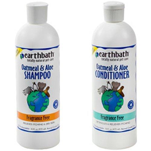 Earthbath Oatmeal and Aloe Fragrance Free Shampoo for Dogs and Cats, 16 Ounces, and Earthbath Oatmeal and Aloe Fragrance Free Conditioner for Dogs and Cats, 16 Ounces ()