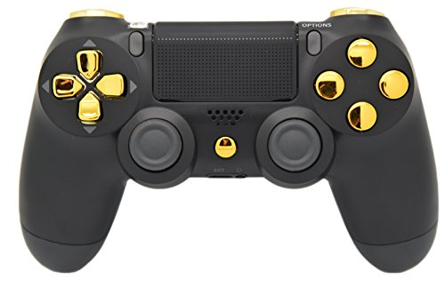 Black & Gold PS4 Rapid Fire Modded Controller, Works with All Games, COD, Rapid Fire, Dropshot, Akimbo & More (Ps4 Custom Controller Modded)