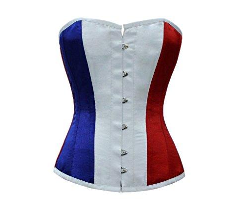 お祝い成功洗剤Red White Blue Satin France Flag Waist Training Bustier Overbust Corset Costume