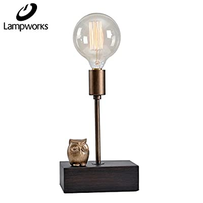 Lampworks Table Lamp Wood And Metal Base Bedside Lamp LED Modern Room Decor Nightstand Lamp Candle Shape Desk Lamp for Kitchen Bedrooms Living Room