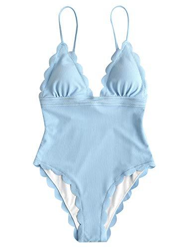 (ZAFUL Women's One Piece Swimsuit Scalloped Trim Bikini Solid Backless High Cut Leg Bathing Suits Light Blue)