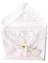 Darice VL3067 Mother of The Groom Embossed Handkerchief Hankies with Pearl Pin
