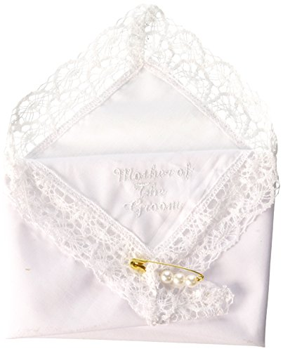 Darice VL3067 Mother of The Groom Embossed Handkerchief Hankies with Pearl (Lace Edged Handkerchief)