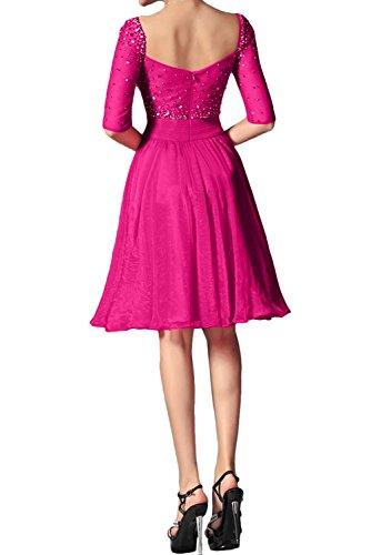 Aermeln Beliebt Brautjungfernkleid Ivydressing Abendkleider Kurz Chiffon Mit Festkleid Violett Damen gxwv6A
