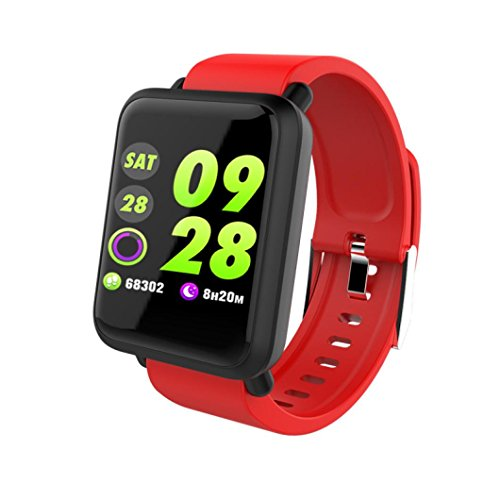 Price comparison product image Boofab Smart Sports Watch,  M28 Smart Bracelet Bluetooth 4.1 Smart Watch Wireless Monitor Wristband with Sleep Monitoring Pedometer Call Message Reminder Anti Lost for iOS Android Phones (Red)