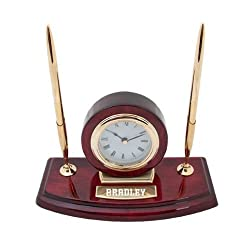 Bradley Executive Wood Clock and Pen Stand 'Bradley Engraved'