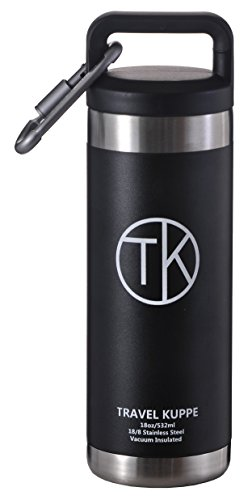 TK Camper (18oz) Travel Kuppe Vacuum Insulated Stainless Steel Bottle with Wide Opening Lid - Comparable to Yeti for Hot or Cold Drinks - Double Walled Thermos Water Bottle - Insulated Coffee Mug (Prices Mug Coffee)
