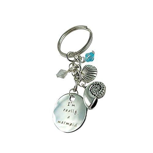 - Art Attack Mermaid Seashell Magic Keychain, Water Ocean Blue Bead Pendant