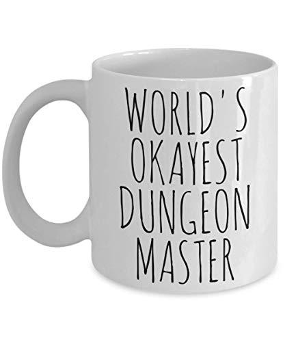 Worlds Okayest Dungeon Master Mug Most Okay Okest DM Gamer Roleplay Men Funny Sarcastic Christmas Birthday Gift Minimalist Coffee Cup Ceramic White