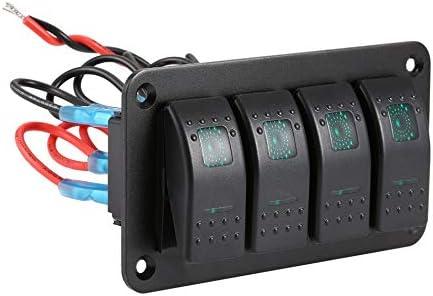 Silverfer 4 Gang Car Marine Boat Caravan LED Panneau de Commutation Disjoncteur Panneau de Commande de commutateur /à Bascule Professionnel Circuit /étanche