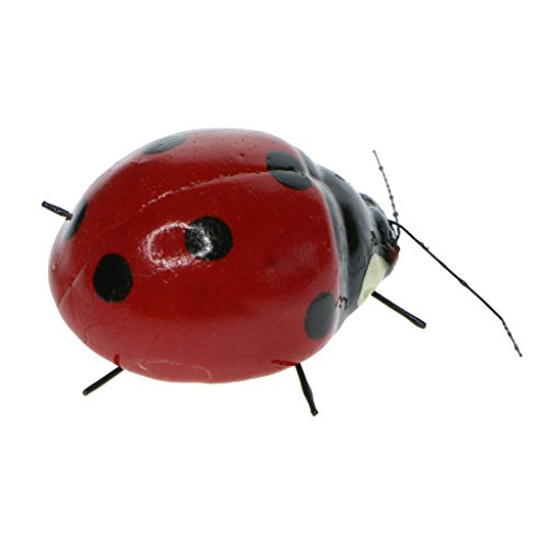 Baoblaze True to Nature Insect Ornament Colorful Fridge Magnet Outdoor Patio Animal Miniature Bee/Ant/Ladybug/Frog/Katydid/Snail OPTIONS - Ladybird, as described ()