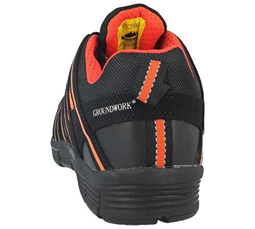 Sicherheitsschuhe Arbeit Stiefel Sicherheit UK Orange Turnschuhe nbsp;Stahlkappe 3–8 GR95 Größe Damen Schwarz H1qWFxwdd