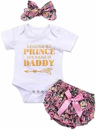 136e629ccbe04 3PCS Newborn Baby Girl Romper Jumpsuit Bodysuit +Pants Shorts+Headband  Outfit Set