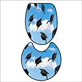 2 Piece Extended Bath mat Set Caps Thrown into Sky Last of The School Highschool College Ceremony Picture for Blue Black. 2 Piece Toilet Cover Set 16''x19''-D24