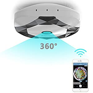 Antaivision 960P HD WiFi IP Security Network Hidden Camera For Home Surveillance, Fisheye 360° Indoor Dome With Night Vision Motion Detection 2-Way Audio (white)
