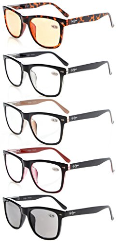 Eyekepper 5-pack Readers Square Large Lenses Spring-Hinges Reading Glasses Include Computer Glasses Men Women 2.5