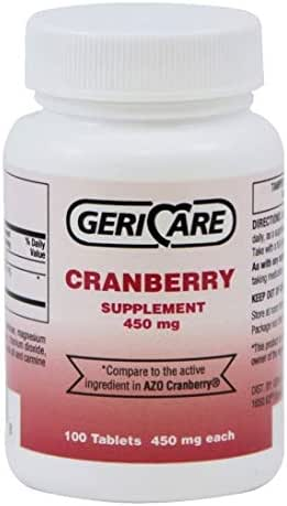 Geri Care Cranberry Pills 450MG 100Count (Helps You Fight Off Urinary Tract Infections)