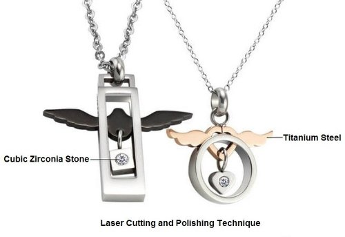Aegean Jewelry Titanium Couple Pendant Necklace ''Endless Love to You'' Style with a Gift Box and a FREE Small Gift (One Pair) by Titanium Couple Necklace (Image #1)