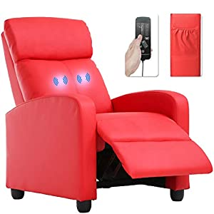 picture of Recliner Chair for Living Room Massage Recliner Sofa Reading Chair Winback Single Sofa Home Theater Seating Modern Reclining Chair Easy Lounge with PU Leather Padded Seat Backrest (Red)
