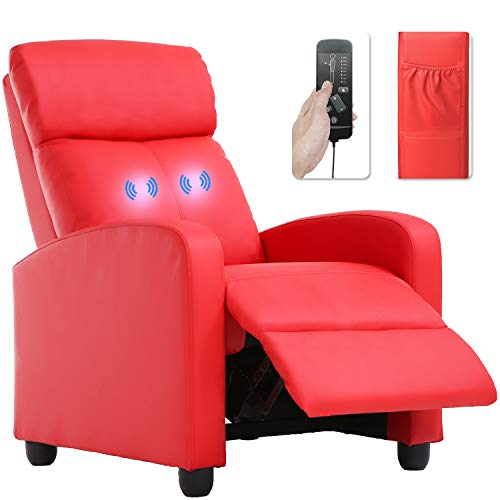 Recliner Chair for Living Room Massage Recliner Sofa Reading Chair Winback Single Sofa Home Theater Seating Modern Reclining Chair Easy Lounge with PU Leather Padded Seat Backrest (Red),bestmassage