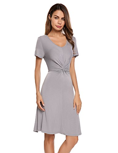 Beyove Women's Jersey Knit Casual Dress Ruched Knot Front Sexy Summer Dress (Dress Ruched Knit)