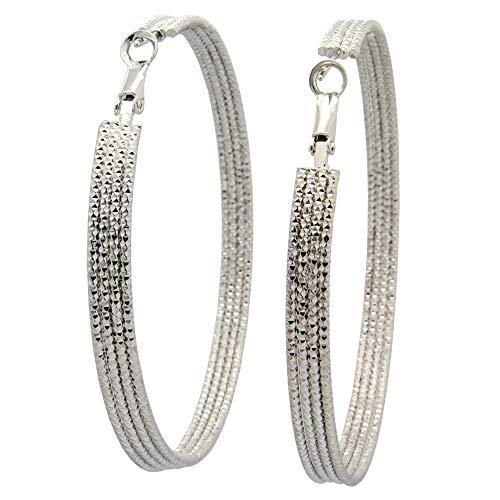 Women's Stainless Steel Pierced Large Hoop Earrings Polished and Textured Stick Parallel Hoop Earrings