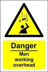 Peligro hombres trabajo Overhead señal de seguridad–3mm aluminio señal 150mm x 200mm