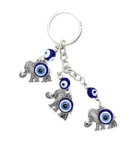 Lucky Elephant and Evil Eye Good Luck Keychain Ring, Handbag Charm for Good Luck and Blessing, Great Gift