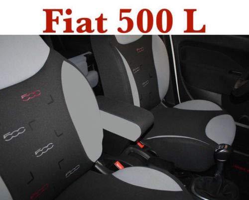 Bracciolo con portaoggetti XXL per Fiat 500L Armrest Trekking Eco Pelle Bicolor Nero e Grigio