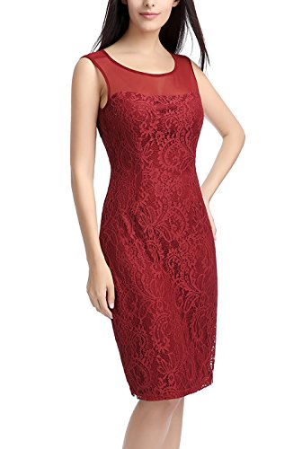 Sheath Wine Illusion phistic Women's Lace Yoke Dress TnBxSaqzw