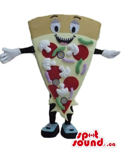 Pizza with mushrooms and sausage SpotSound Mascot US costume fancy dress