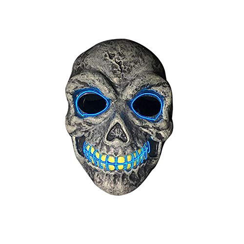 Rucan Halloween Skeleton Mask LED Masks Glow Scary Mask Light Up Cosplay Mask]()