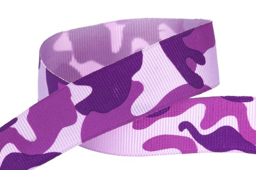 HipGirl Printed Grosgrain Camouflage Ribbon, 5-Yard 7/8-Inch, - Camouflage Fabric Purple