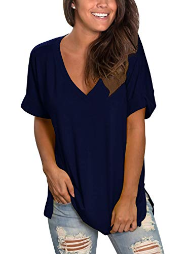Topstype Womens Summer Short Sleeve T Shirts V Neck Tunic Roll Up Tops Cute Tees Loose Fitted Henley Workout Shirts Dark Blue