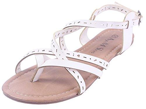Ageemi Femmecouleur Talon Cuir Blanc Pu Non Boucle Sandales Shoes Unie r5qO7wgrv