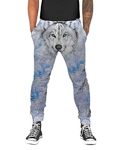 UNIFACO Men Women Causal Active Jogging Pants Wolf Baggy Elastic Sweatpants M