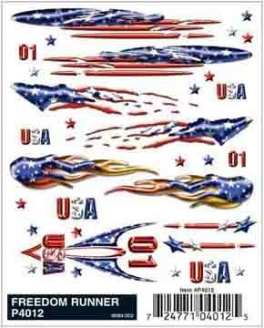 Pinecar Dry Transfer Decals, Freedom Runner, -