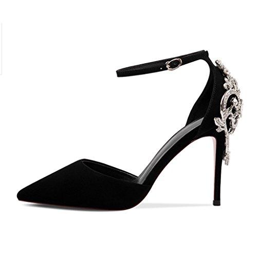 36 Sandalen shoes Schwarz Stöckelschuhe Baotou Einer mit JE Größe mit Kopfschnalle Spitzen Farbe wgaxTA