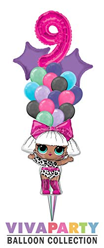 19 pc LOL Super Shape Diva with Solid Star and Latex Balloon Bouquet 19 pc, 9th Birthday, Hot Pink Number 9 Jumbo Balloon | Viva Party Balloon ()