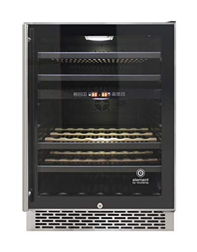 Vinotemp EL-46SS-2Z Butler Series 46-Bottle Dual-Zone Refrigerator, Wine Cooler, One size, Black, stainless steel ()