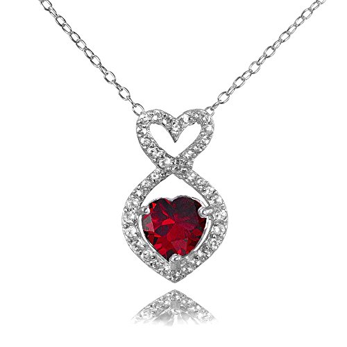 Ice Gems Sterling Silver Created Ruby and White Topaz Infinity Heart Necklace ()